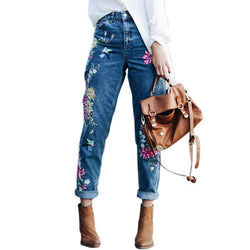 Flower Embroidery  High Waist Jeans