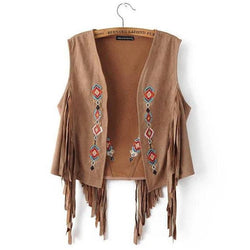 Embroided Boho Suede Vest