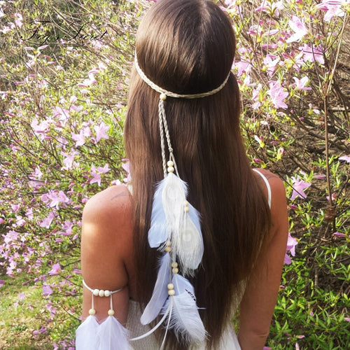 Bohemian White Feathers Headband