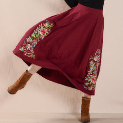 Vintage Floral Embroidery Midi Skirt (3 colors)