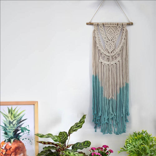 Blue Dipped Macrame Wall Art