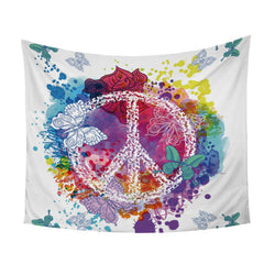 Watercolor Butterfly Peace Tapestry