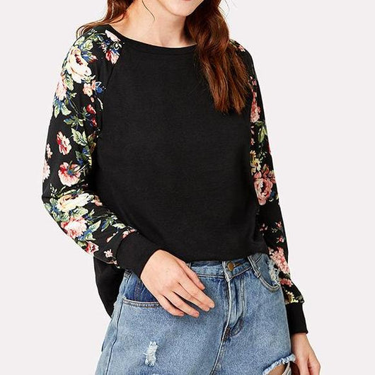 Black Floral Sweater