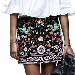Embroidered Floral Boho Pencil Skirt