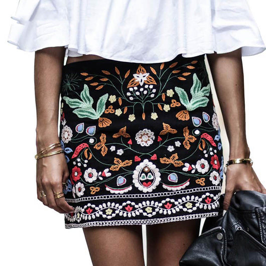 a99f3cd7ab Embroidered Floral Boho Pencil Skirt – Cosmic Lama