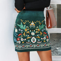 Vintage Embroidered High Waist Pencil Skirts