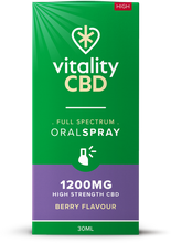 Load image into Gallery viewer, Vitality CBD Oral Spray 30ml - 1200mg