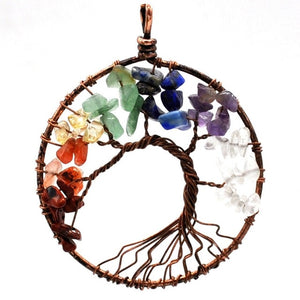 7 Chakra Quartz  Tree of Life Pendant