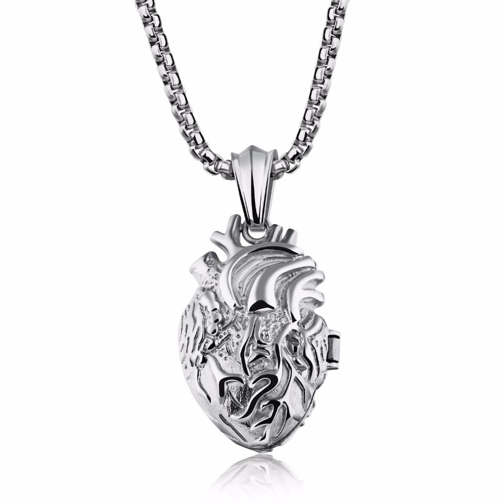 Anatomically Correct Heart Necklace in Stainless Steel