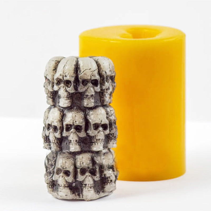 Silicone Mold Halloween Cylinder With Skulls