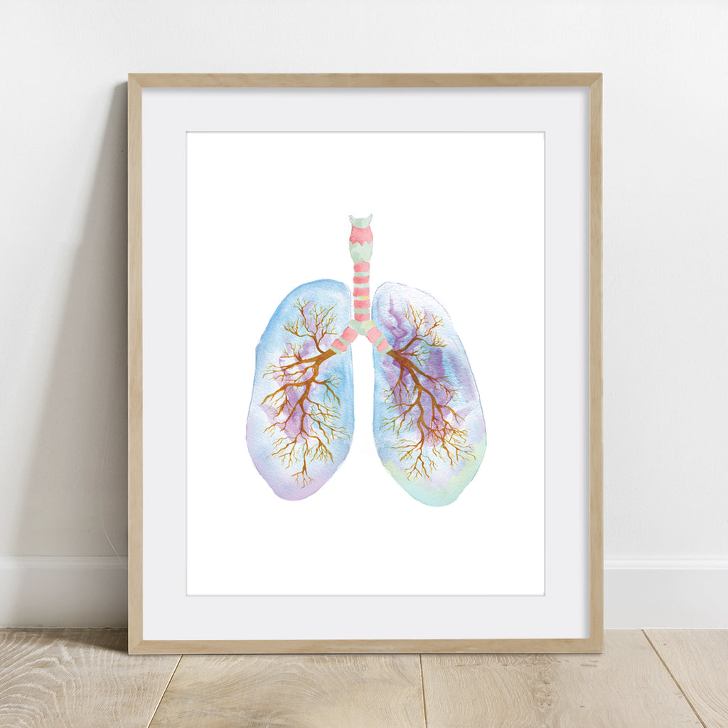Human Lung Watercolor Print
