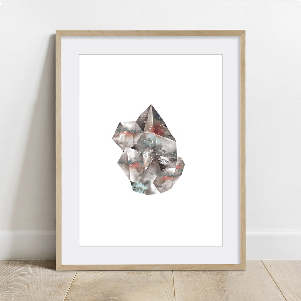 Smoky Quartz Crystal Art Print