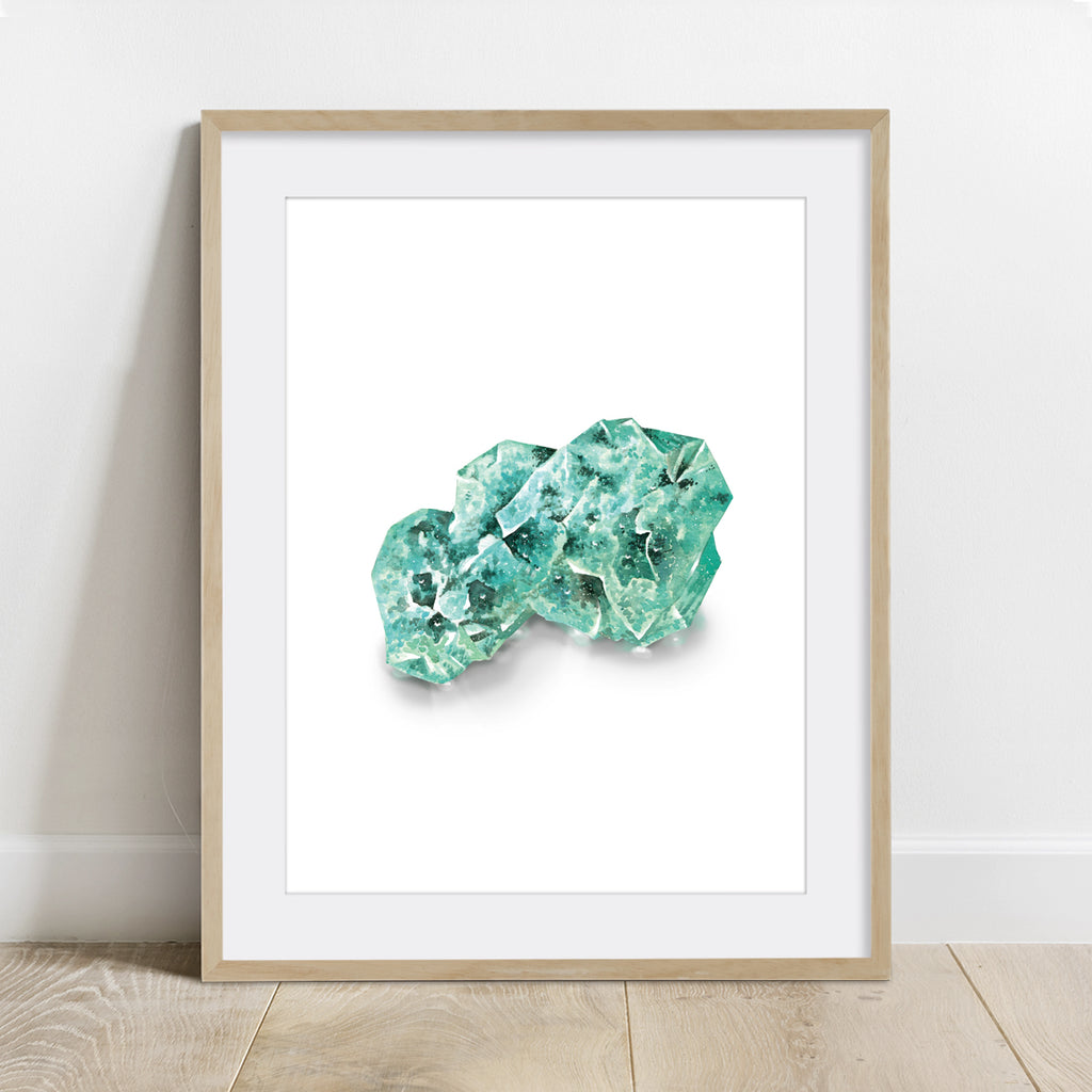 Raw Emerald Stone Crystal Art Print