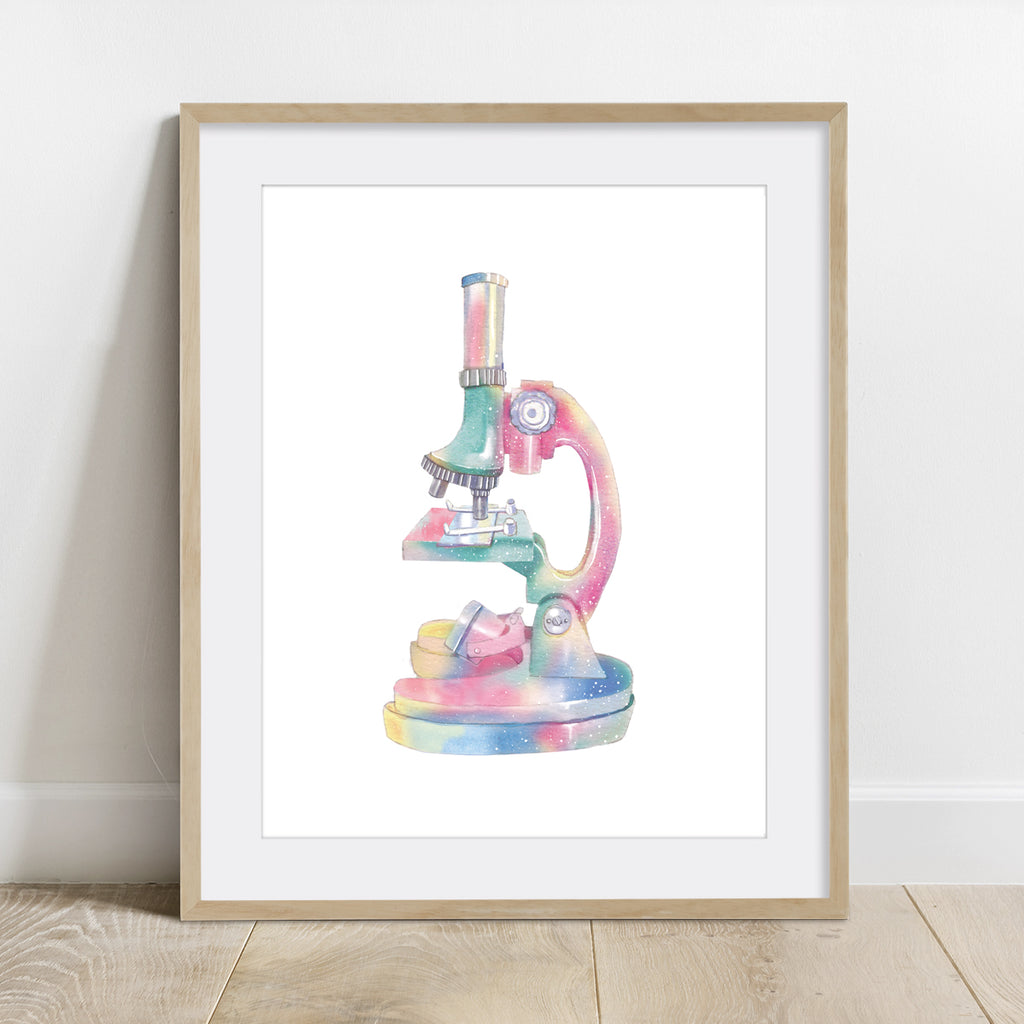 Microscope Watercolor Art Print