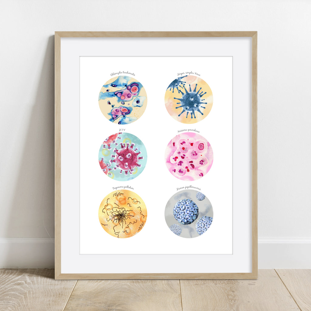 STD Causing Bacteria and Viruses Collection Print