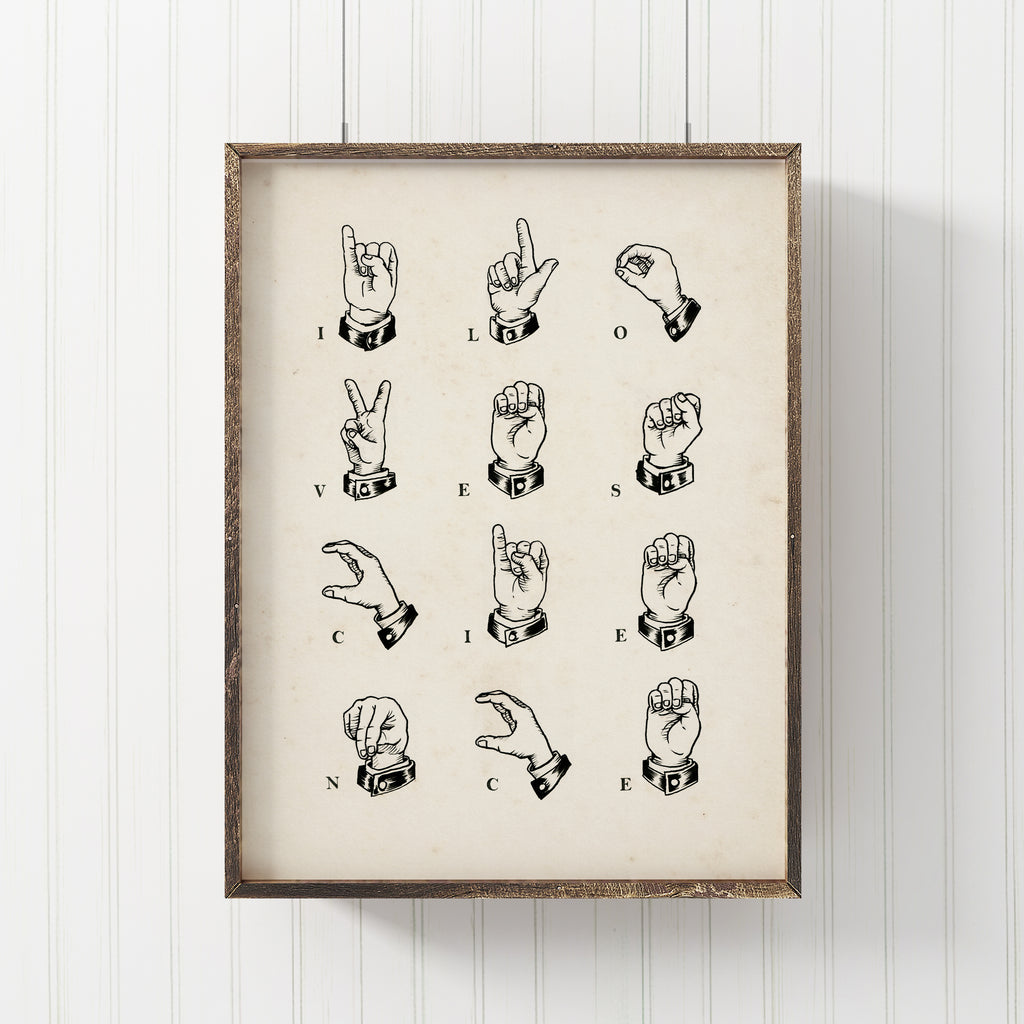 I Love science Sign language Print