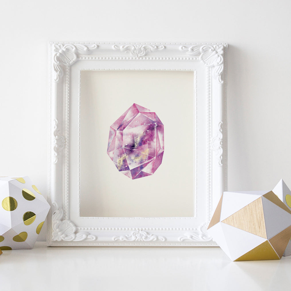 Amethyst Quartz Crystal Art Print