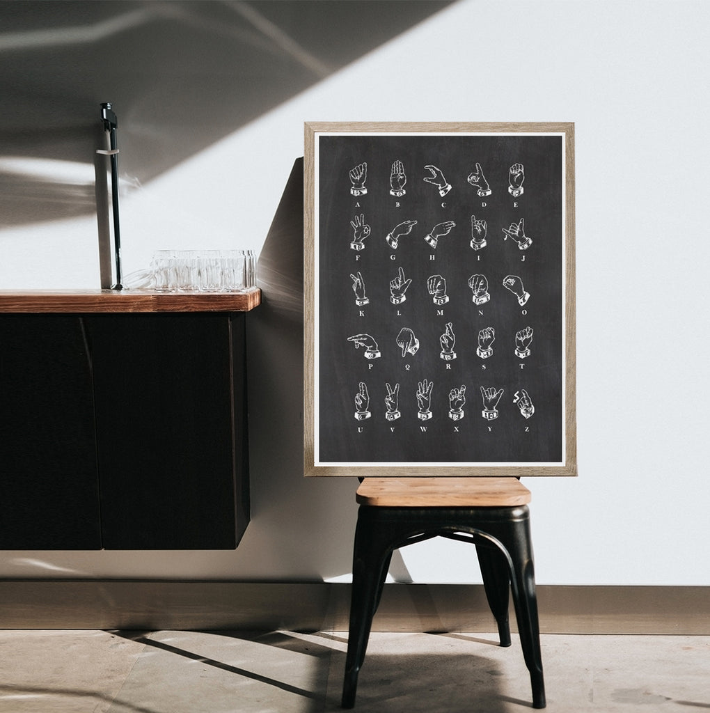 Sign language on Chalkboard background Print