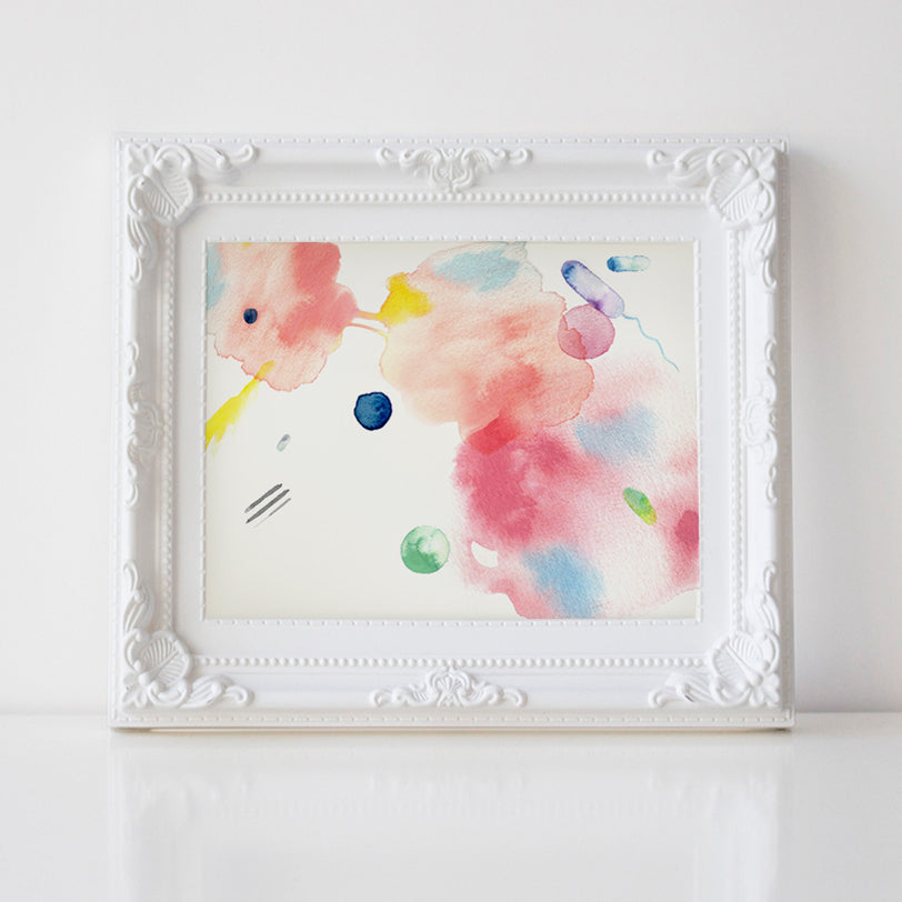 Bacteria Chemotaxis Abstract Watercolor Print