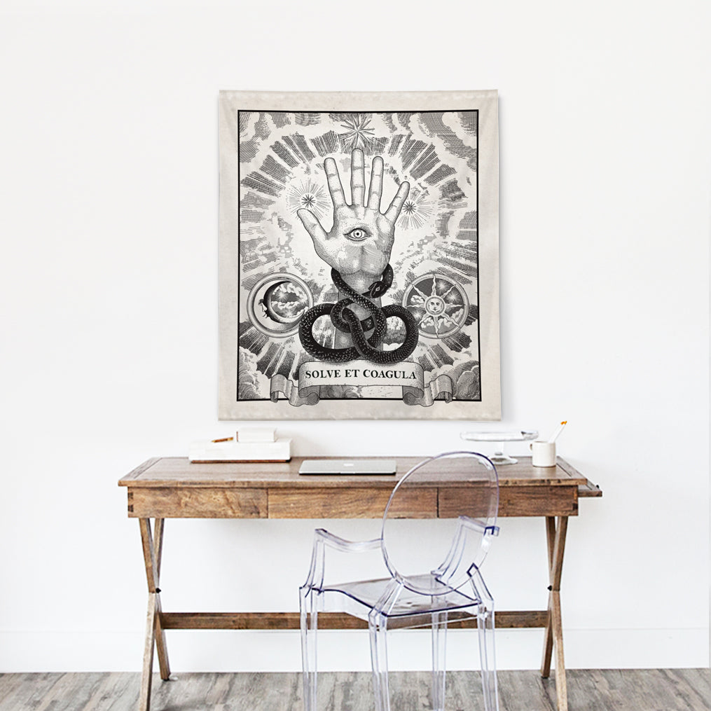 "Alchemy motto ""Solve et Coagula"" with Ouroboros Tapestry"