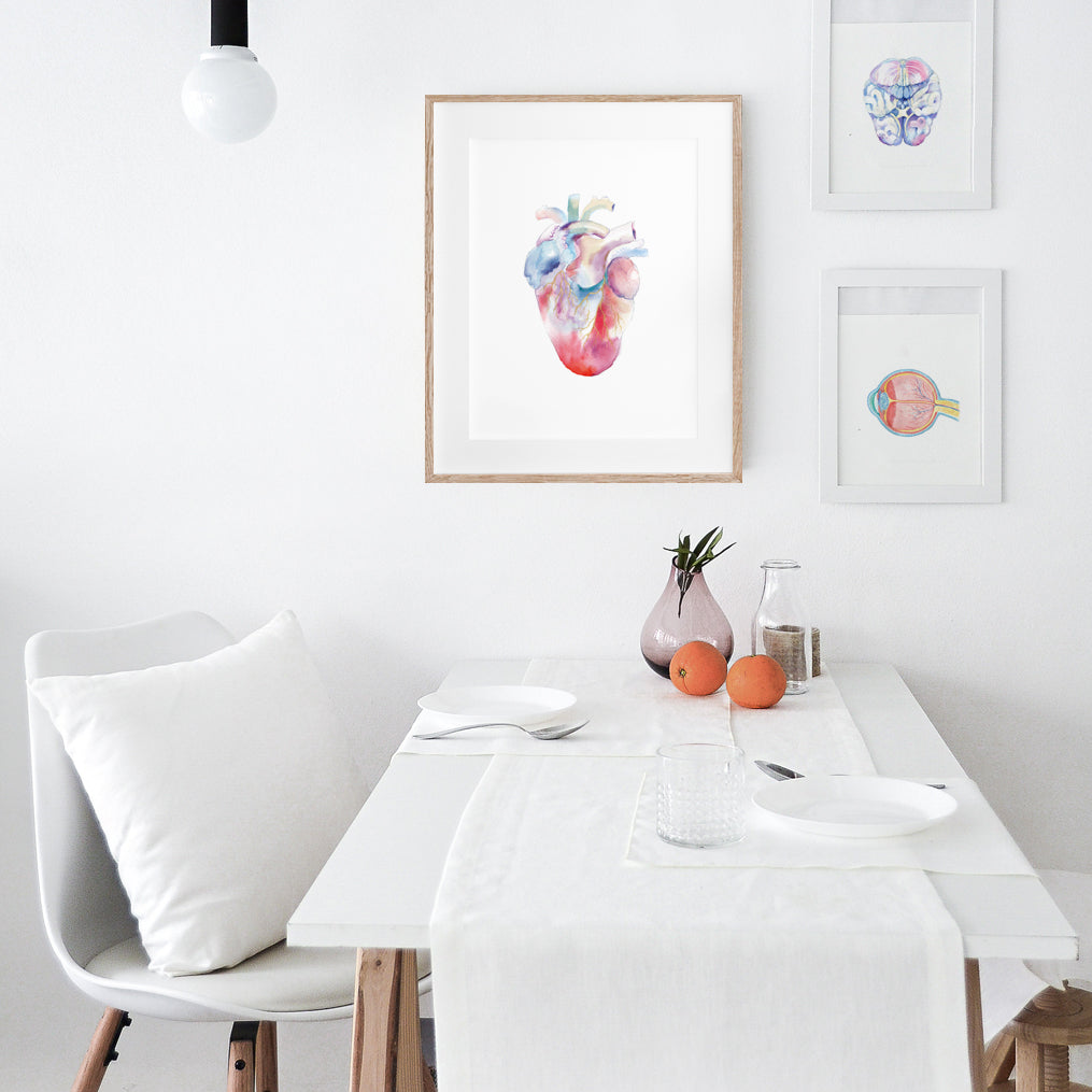 Human Heart Watercolor Print
