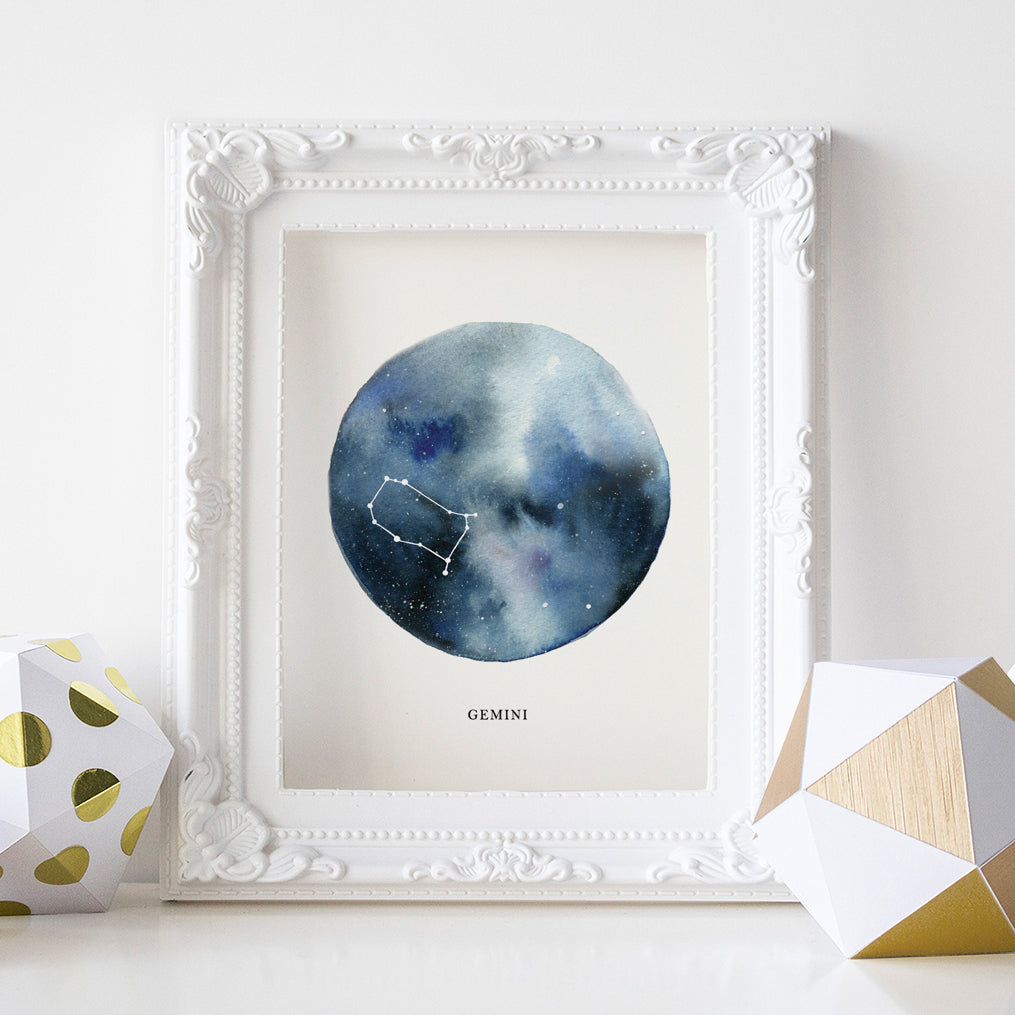 Gemini Astrological Sign Constellation Print