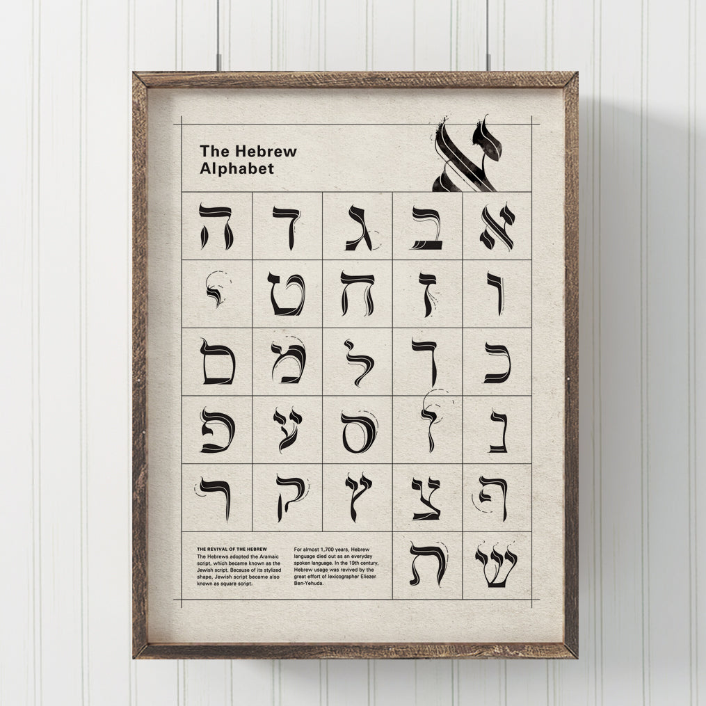 Hebrew Alphabet Typography Print
