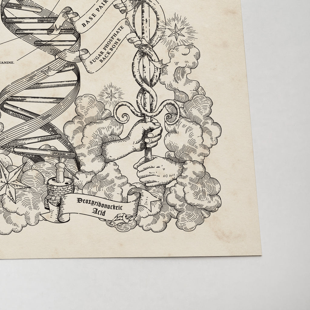 Ancient Style DNA and Caduceus Art