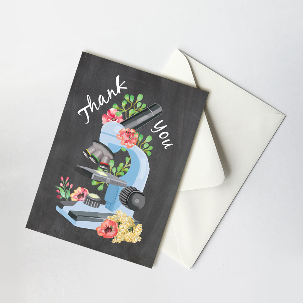 Thank You Card for Science Teacher, Professor, Appreciation Greeting Card, Microscope Illustration A7