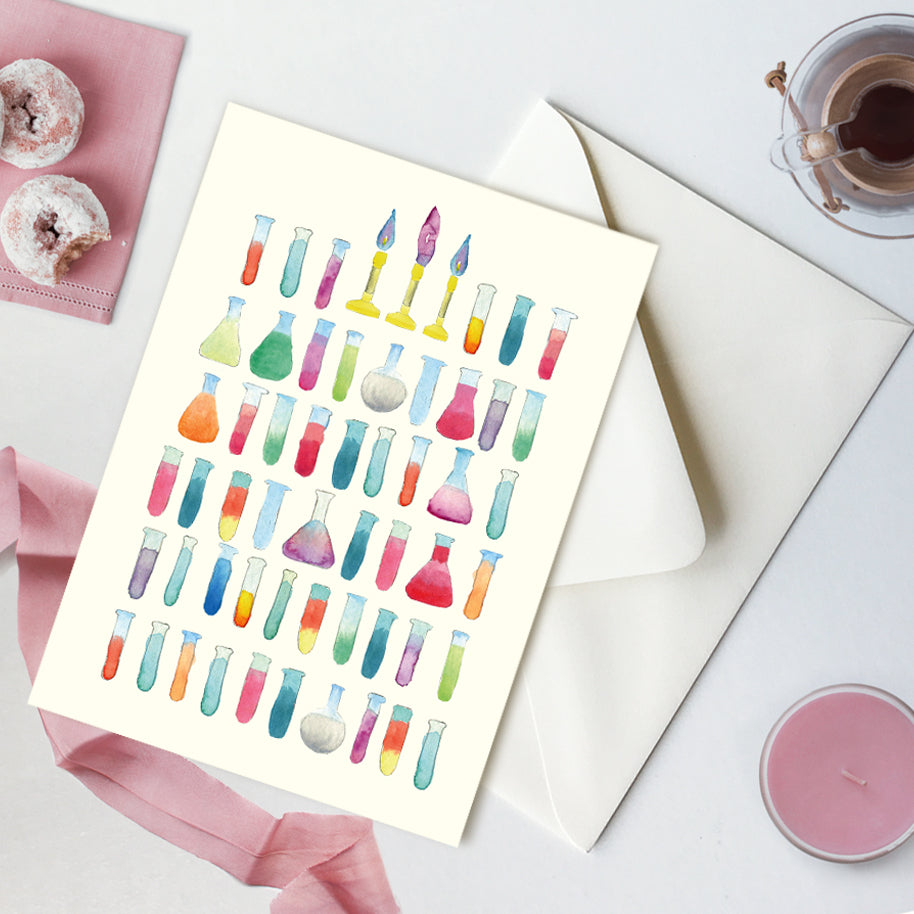 Birthday Card, Test Tubes Science Greeting Card with envelope, A7