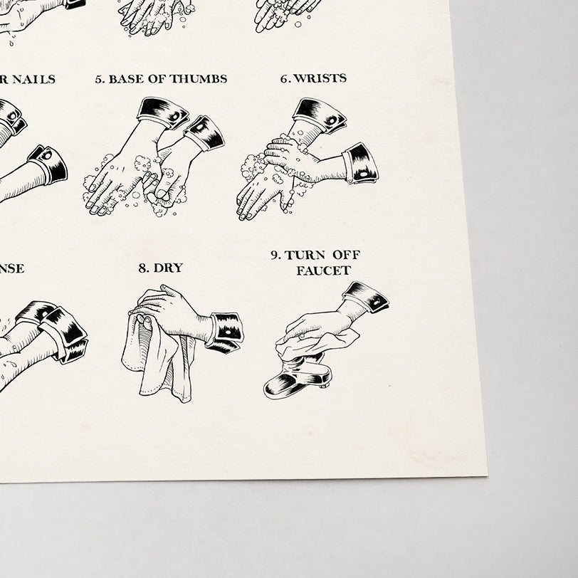 Hand Washing Instruction Art