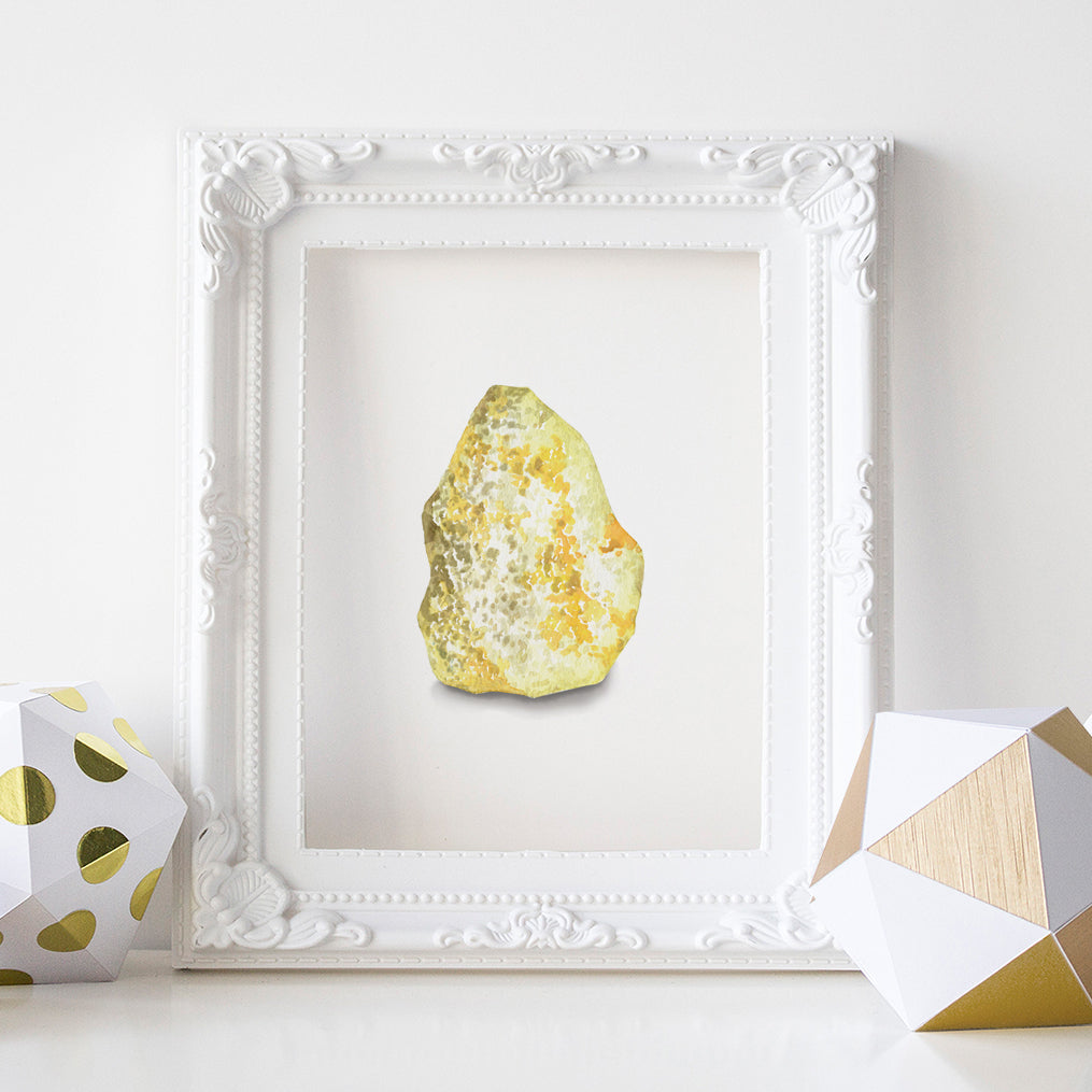 Natural Sulfur Crystal Art Print