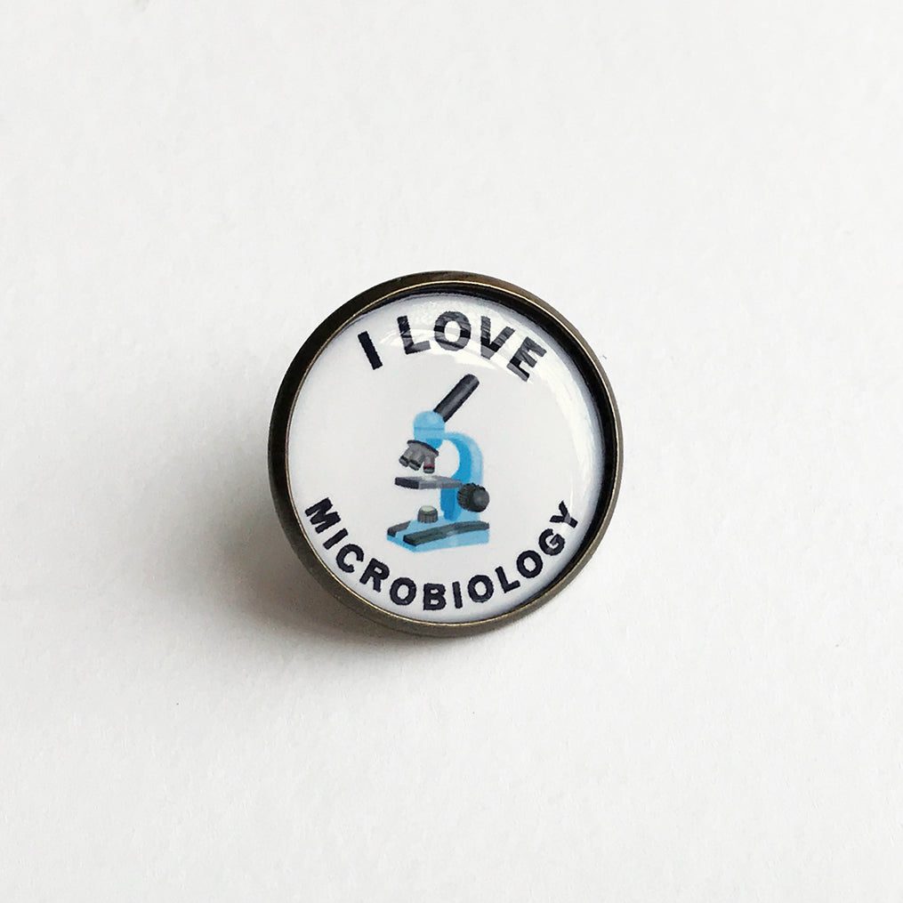 I Love Microbiology Lapel Pin
