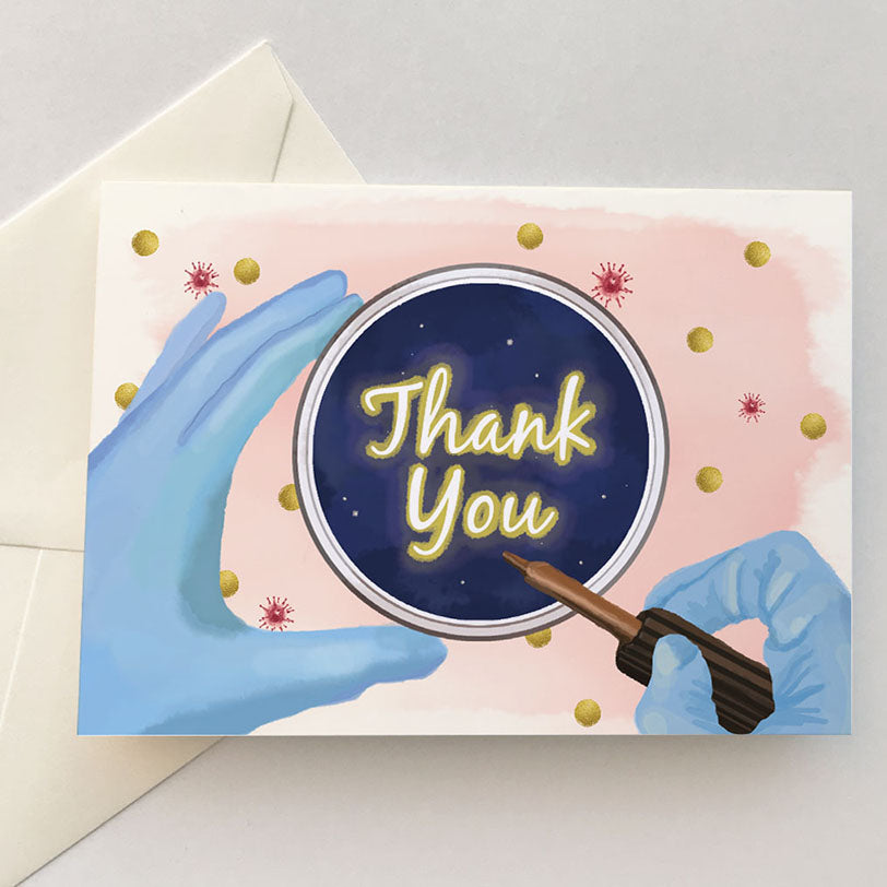 Thank You Card for Science Teacher, Professor, Appreciation Greeting Card, Petri Dish Illustration A7