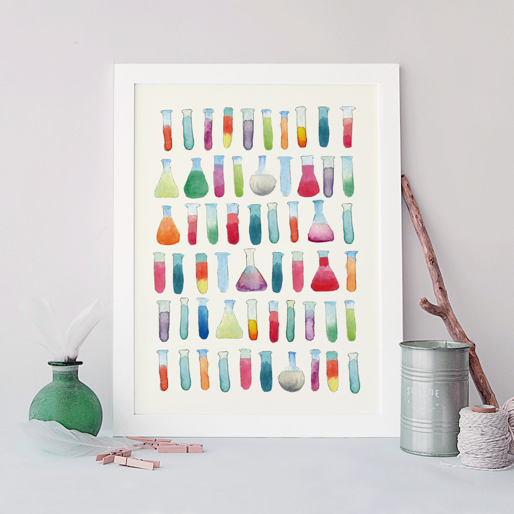 Test Tubes and Flasks watercolor Art Print