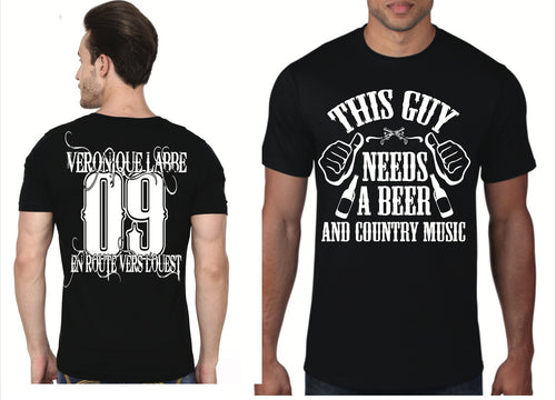 T-shirt pour homme - This guy needs a beer and Country Music - noir