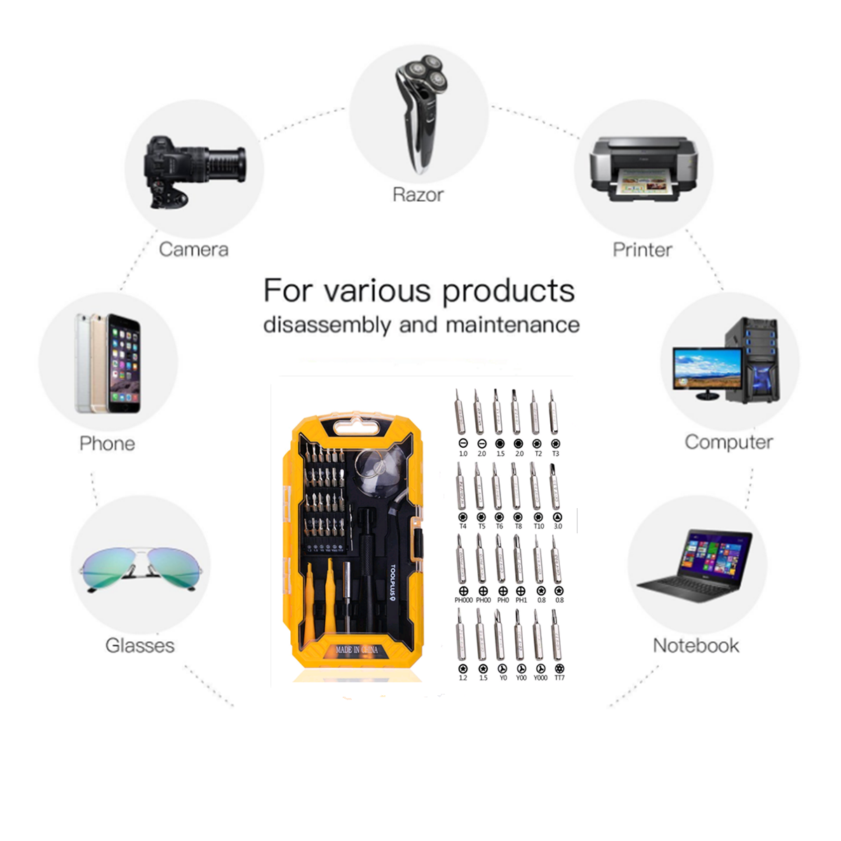 Disassemble Rods + Forceps + Screwdrive DUANDETAO 8 in 1 Professional Versatile Screwdrivers Set for iPhone 5 for iPhone 4 /& 4S for iPad for Galaxy S IV i9300 for Other Mobile Phone S III i9500