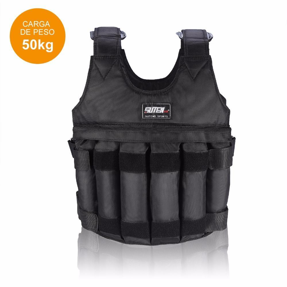 GILET LESTE DE 50KG Max Loading Adjustable Workout Weight Weighted Vest Boxing Waistcoat Swat Sand Clothing Exercise Training Fitness Jacket