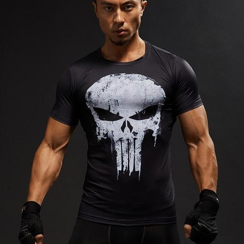 T-Shirt  HOMME Captain America Superman  Fitness Compression Punisher