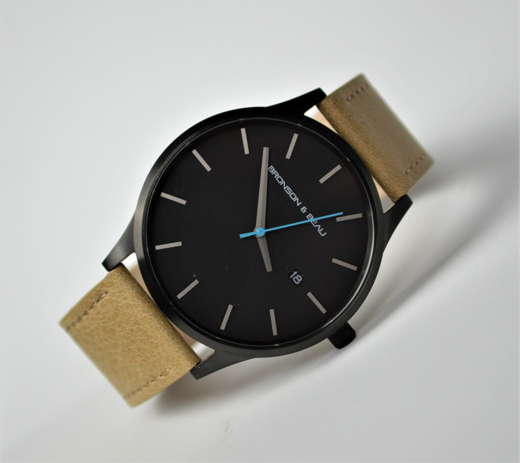 Tannery Watch in Black with Blue