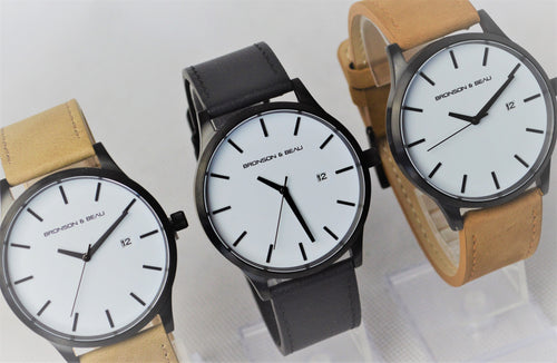 Tannery Watch in White with Black
