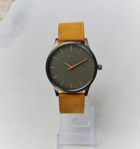Tannery Watch in Gunmetal with Orange