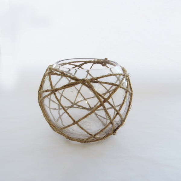 Round Glass With Rope (17 x 20 cm)