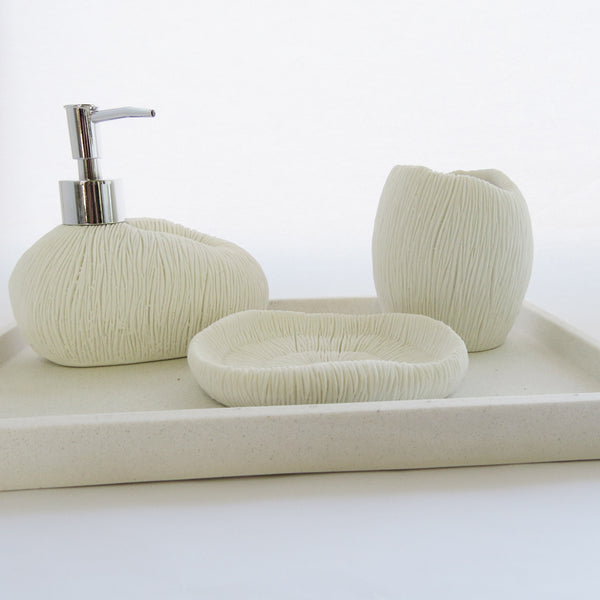 BATH TRAY WHITE STONE