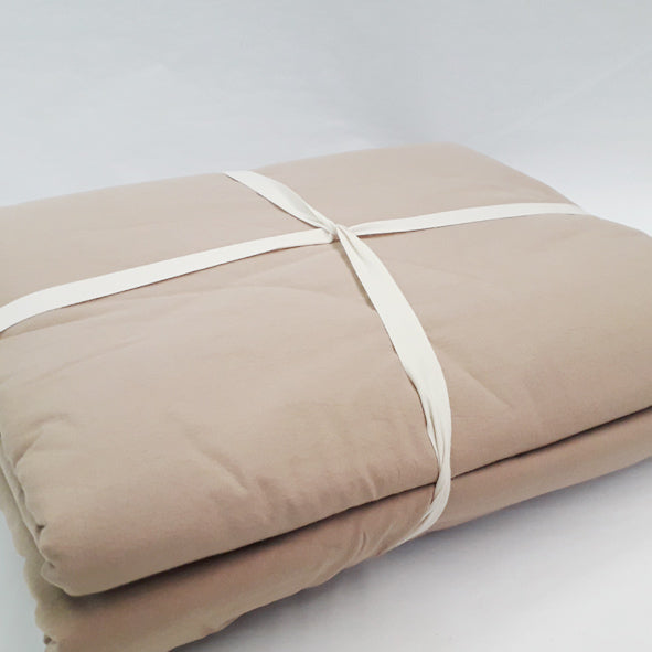 BLANKET SET 100% COTTON 220 X 240CM - 4PC BISCUIT