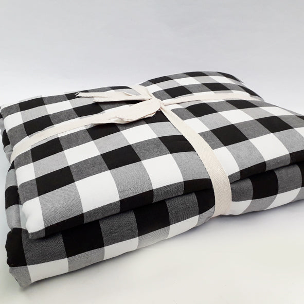 BLANKET SET POLYESTER 200 X 220CM BLACK & WHITE LARGE CHECK