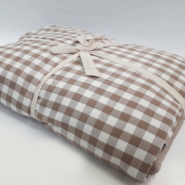 BLANKET SET POLYESTER 200 X 220CM BROWN CHECK
