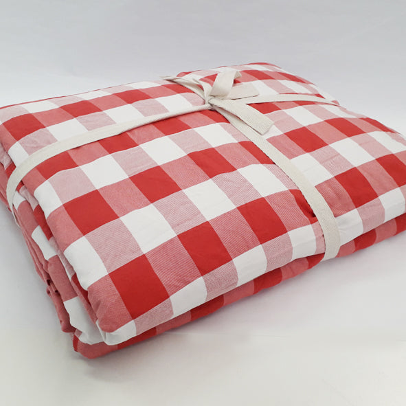 BLANKET SET POLYESTER 200 X 220CM RED CHECK LARGE