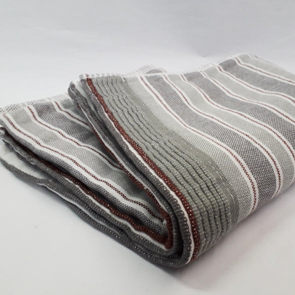 GREY STRIPE FACE TOWEL (SET OF 4)