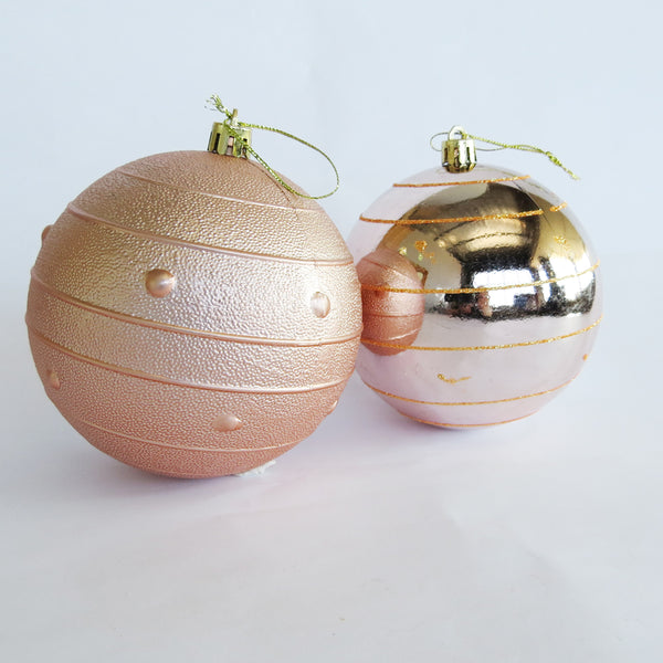 BALL GOLD STRIPE 10CM 2PC BOX